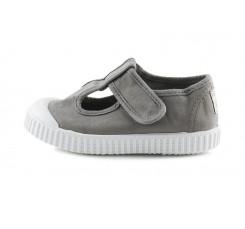 Sandalia de lona gris lavado con velcro Victoria