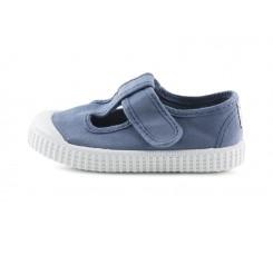 Sandalia de lona azul jeans lavado con velcro Victoria