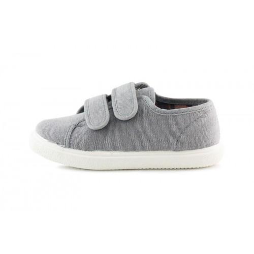 Zapatilla de lona gris sin puntera y velcro Vul-ladi