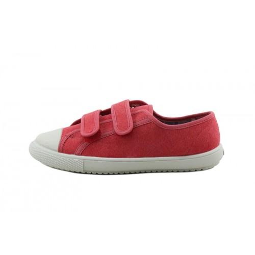 Zapatilla de lona roja con velcro Vul-Ladi