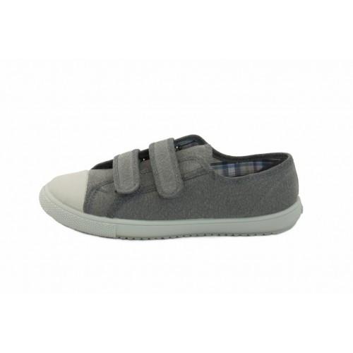 Zapatilla de lona gris con velcro Vul-Ladi