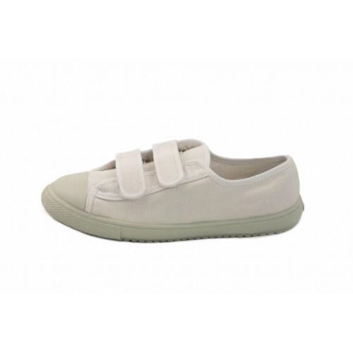 Zapatilla de lona blanca con velcro Vul-Ladi