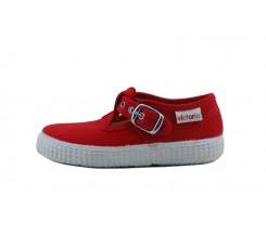 Lona sandalia roja con hebilla Victoria