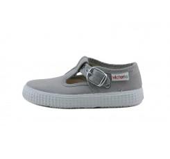 Lona sandalia gris claro con hebilla Victoria