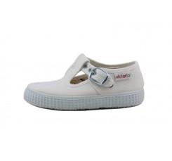 Lona sandalia blanca con hebilla Victoria