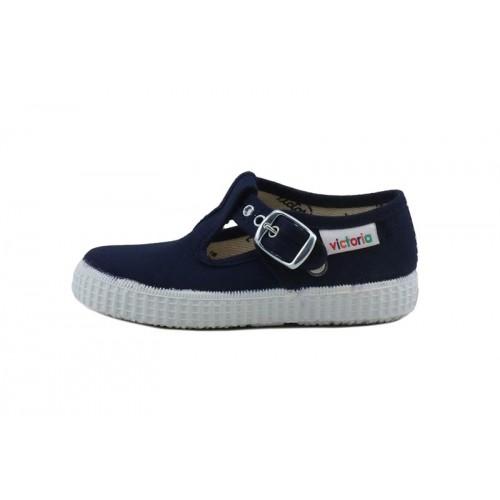Lona sandalia azul con hebilla Victoria