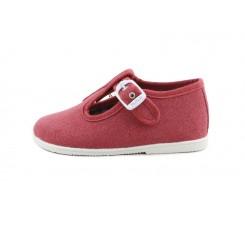 Sandalia lona rojo lavado con hebilla Vul-Ladi
