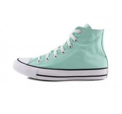 Bota de lona verde claro con suela blanca Converse