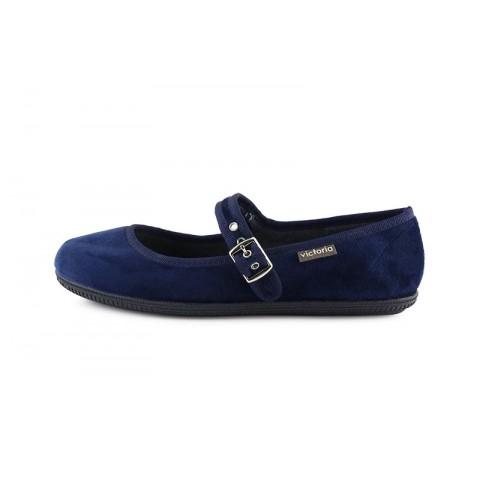 Mercedita terciopelo azul con hebilla Victoria 104913