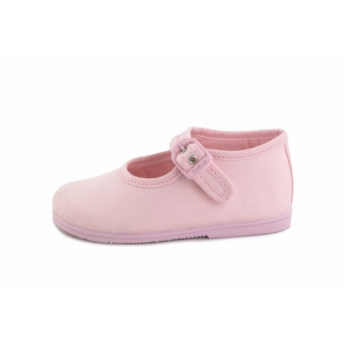 Merceditas lona rosa con hebilla Vul-Ladi