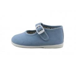 Merceditas lona azul jeans con hebilla Vul-Ladi