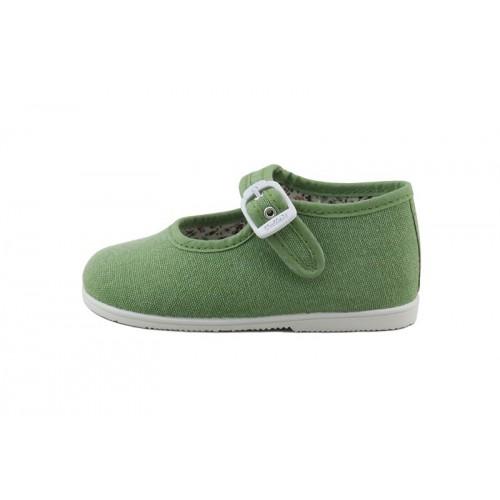 Merceditas lona verde con hebilla Vul-Ladi