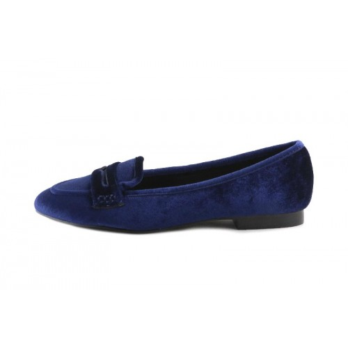 Mocasin terciopelo azul Cafe Noir