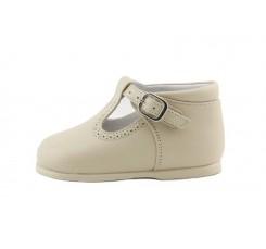 Sandalia bota piel beige con hebilla Jeromin