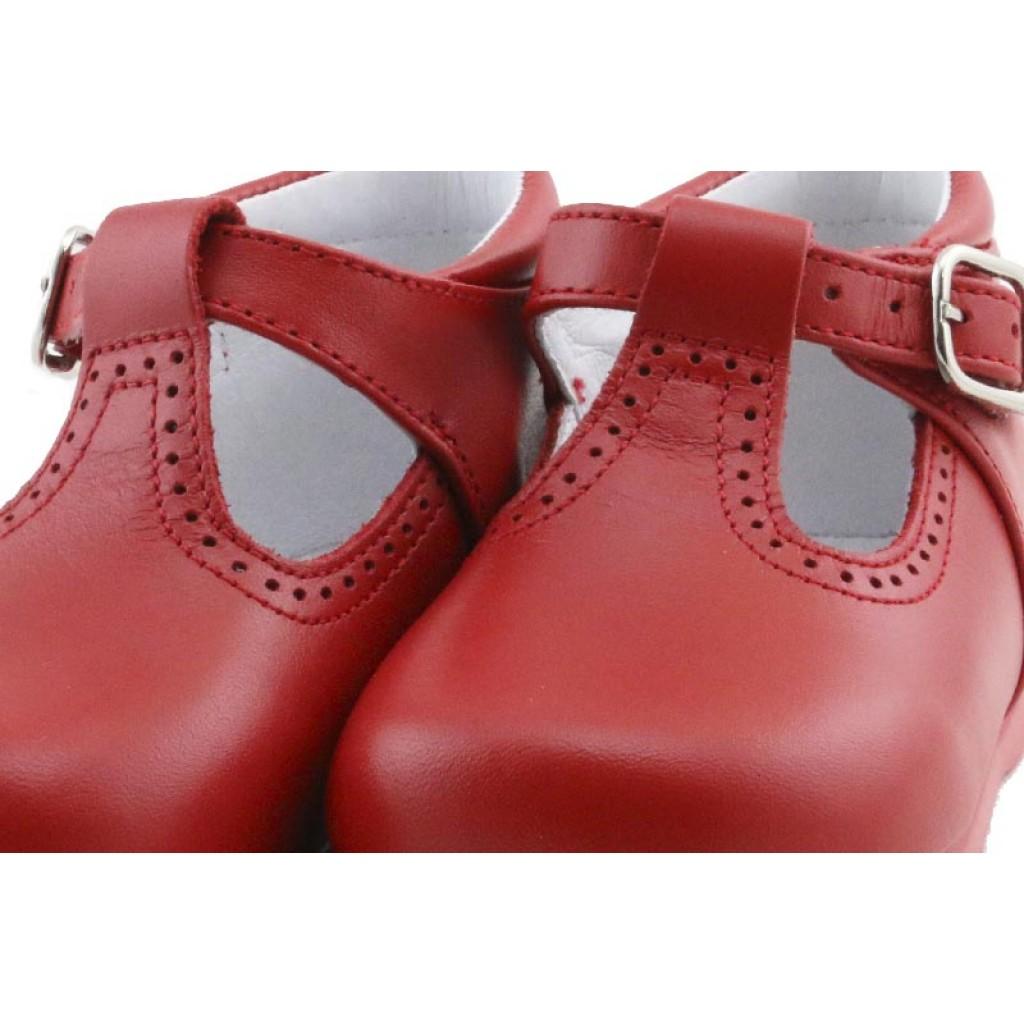 Sandalia bota piel rojo con hebilla Jeromin
