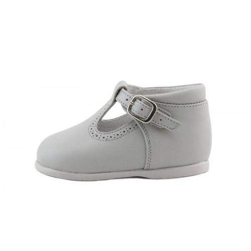 Sandalia bota piel gris claro con hebilla Jeromin