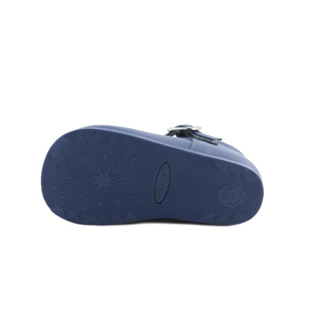 Sandalia bota piel azulón con hebilla Jeromin