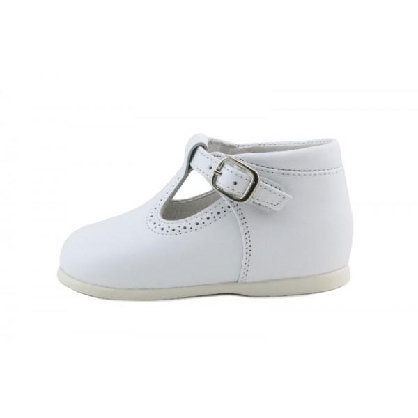 Sandalia bota piel blanco con hebilla Jeromin