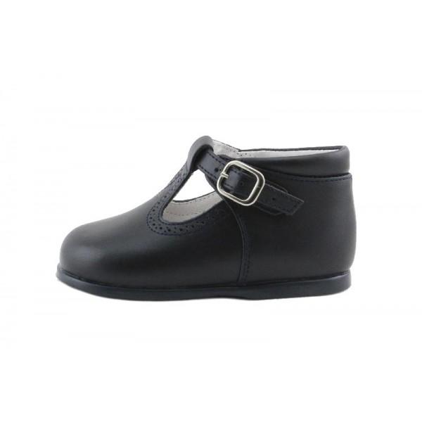 Sandalia bota piel azul con hebilla Jeromin