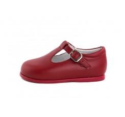 Sandalia de piel roja con hebilla Jeromín