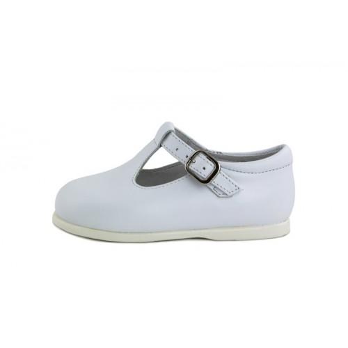 Sandalia de piel blanca con hebilla Jeromín