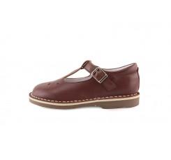 Sandalia piel marrón calada con hebilla Jeromín