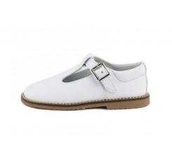 Sandalia piel blanca hebilla Jeromín