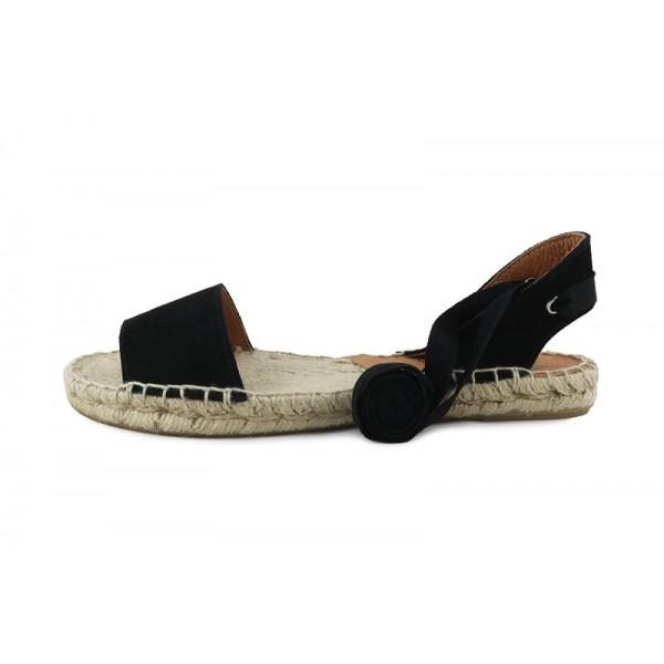 Sandalia abierta ante negro con cintas Pepa & Cris