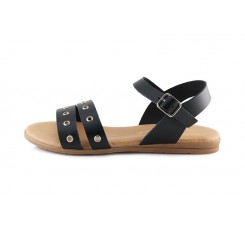 sandalia piel negra con dos tiras & hebilla