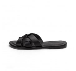 Sandalia plana nudo piel negra