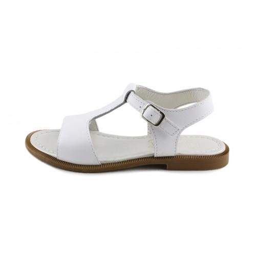 Sandalia piel blanca con hebilla Jeromín