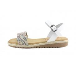 Sandalia piel blanca con hebilla Valerias para Jeromin