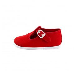 Sandalia lona roja con hebilla Vul-Ladi