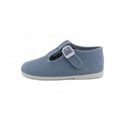 Sandalia lona azul jeans con hebilla Vul-Ladi