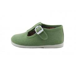 Sandalia lona verde con hebilla Vul-Ladi