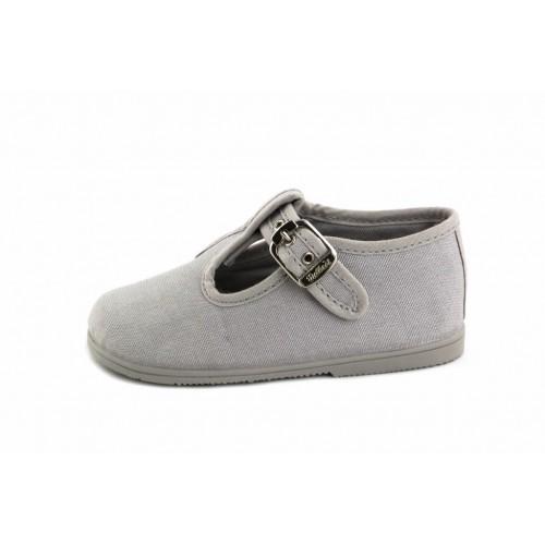 Sandalia lona gris con hebilla Vul-Ladi