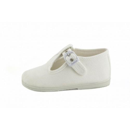 Sandalia lona blanca con hebilla Vul-Ladi