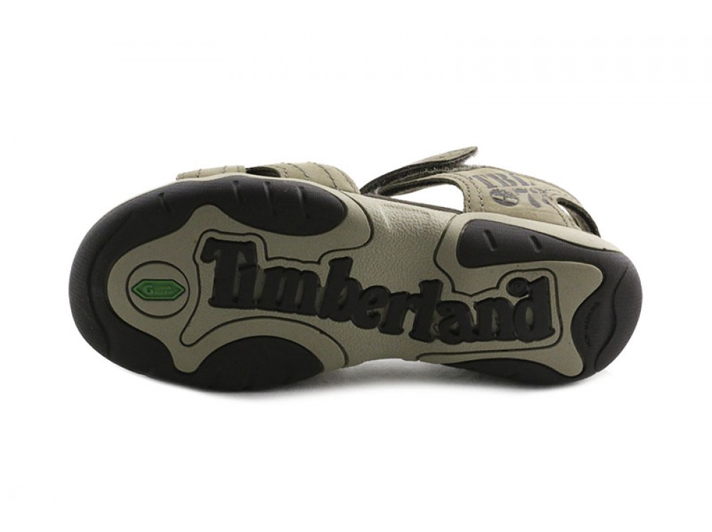 Beige Piel Sandalia En Oscuro Bio Con Timberland Velcro m0N8nw