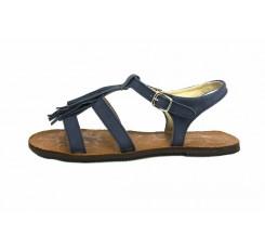 Sandalia nobuk azul con flecos Jeromín
