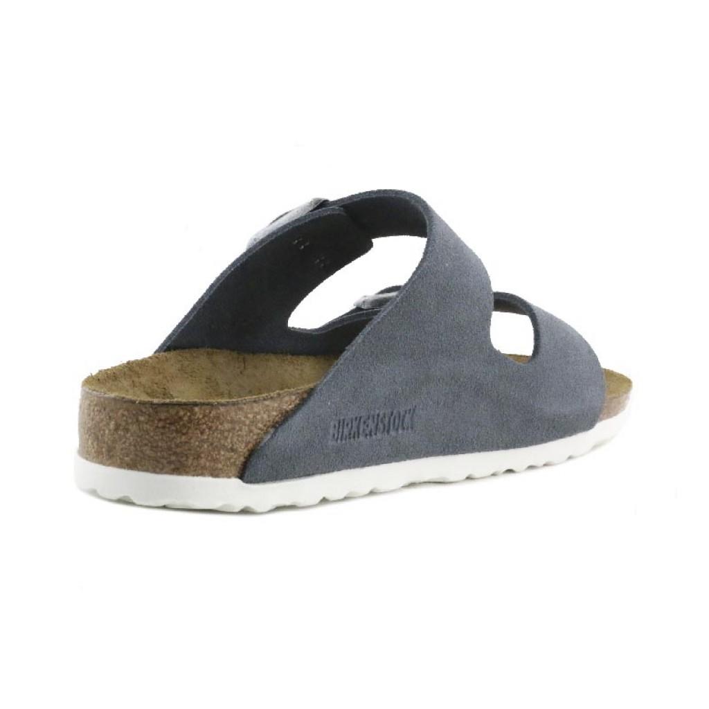 Sandalia ante gris con dos tiras y hebillas Birkenstock