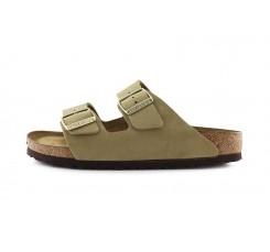 Sandalia nobuk kaki con hebilla Arizona Birkenstock