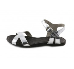 Sandalia piel plateada 2 tiras cruzadas Jeromín