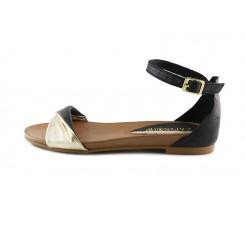 Sandalia de piel negra y dorada con hebilla CafèNoir