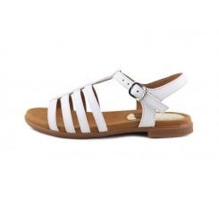 Sandalia de cuatro tiras con hebilla color blanco Unisa