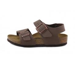 Sandalia nobuk marrón atada con hebilla New York Birkenstock