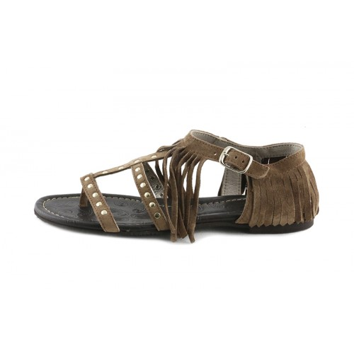 Sandalia ante macork con tachuelas y flecos Jeromín