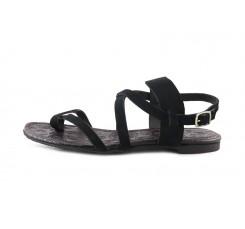 Sandalia de dedo en ante negro con tiras en el empeine y hebilla Jeromín
