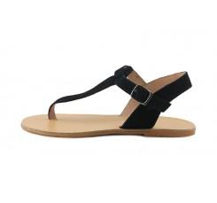 Sandalia de dedo en serraje negro con hebilla Pepa y Cris