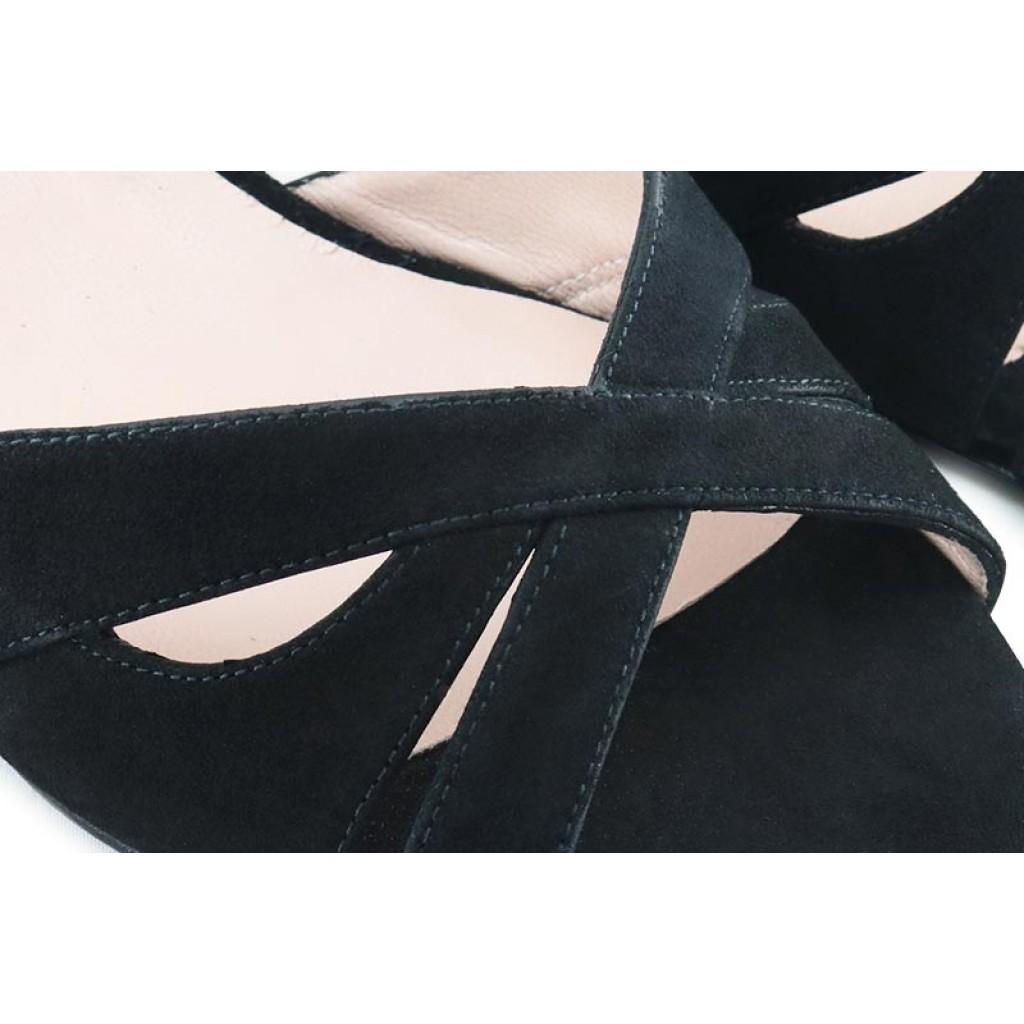 Sandalia ante negro tiras cruzadas con tacón bajo Joni