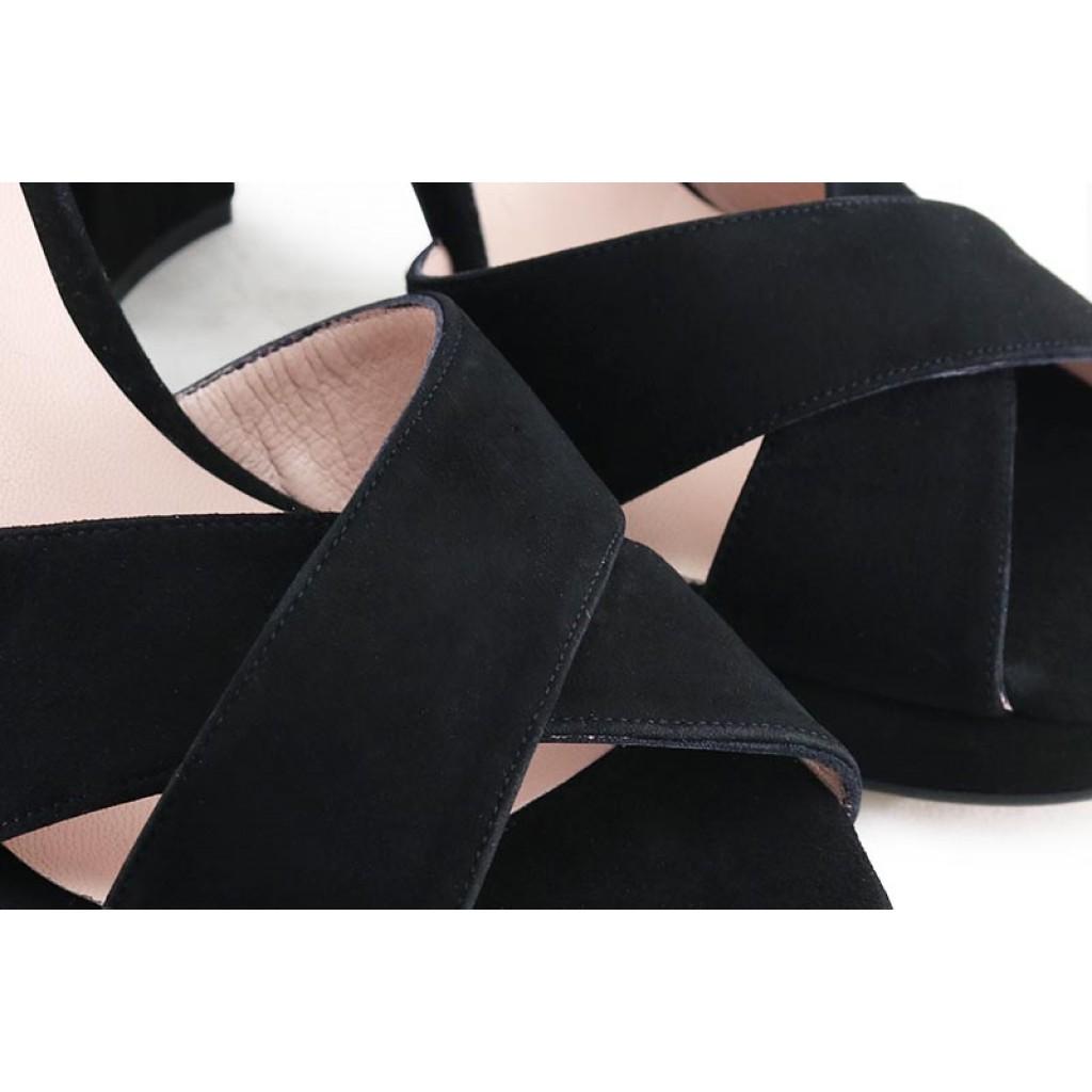 Sandalia ante negro tacón alto Joni